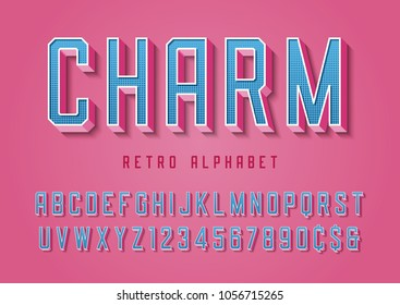 Charm trendy pop art display font design, alphabet, typeface, letters and numbers, typography. Swatch color control.