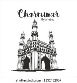 Charminar Hyderabad illustration or sketch