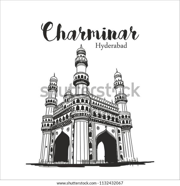Charminar Hyderabad Illustration Sketch Stock Vector