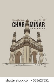 Charminar, Hyderabad landmark Vector Illustration. India's famous monument for graphics, brochure, poster, banner, advertisement, web design and wall graphics.