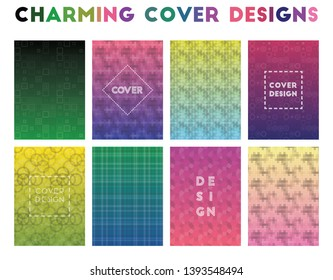 Charming Cover Designs. Alive geometric patterns, uncommon vector illustration.