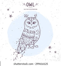 Charming fairy owl. Stylish card with doodle character owl. Vector illustration