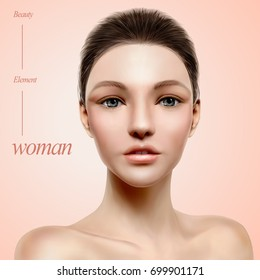 Charming model portrait, woman with beautiful facial expression for fashion magazine or medical uses, 3d illustration