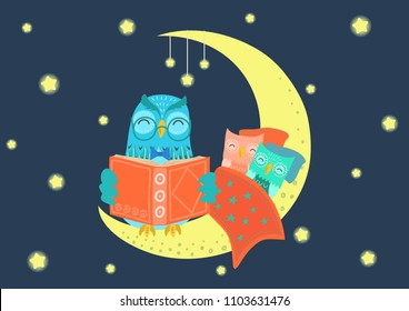 Charming owl reading book to owlets at night on the moon under starry sky. Father and children concept. Bedtime, story-time vector illustration.