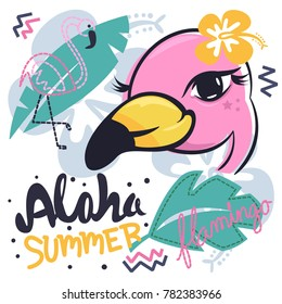 Charming pink flamingos girl cartoon with tropical elements background vector illustration.