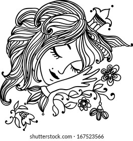 Charming sleeping princess with long hair, a crown and floral patterns