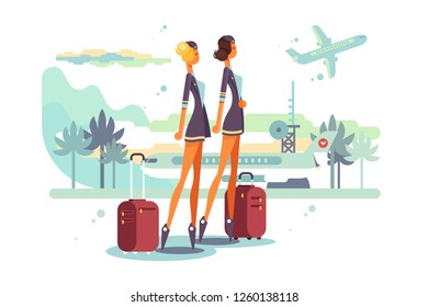 Charming stewardess with suitcases vector illustration. Cartoon beautiful flight attendants in uniform at airport flat style. Aviation staff employee concept