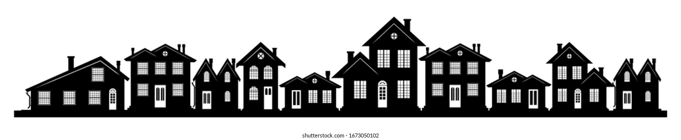 A charming street in the U.S. with houses of different design and architecture. Many options of windows and doors. A header for a website or an article about real estate. A wide panorama