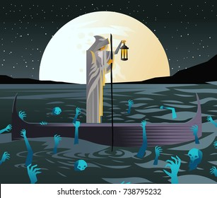 charon with boat traveling in styx sea