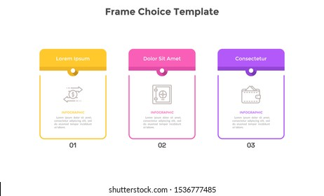 Chart with 3 rectangular frames placed in horizontal row. Concept of three features of marketing strategy. Infographic design template. Flat vector illustration for business information visualization.