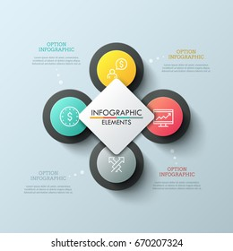 Chart with 4 circular elements, thin line icons inside them and white square in center. Four steps of cyclical process concept. Unique infographic design template. Vector illustration for report.