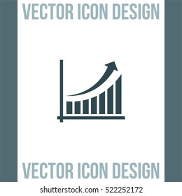 Chart with arrow and bars vector icon. Growth vector icon. Success sign icon. Finance graph line icon.
