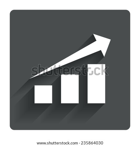 chart with arrow sign icon  success diagram symbol  statistics  gray flat  square button