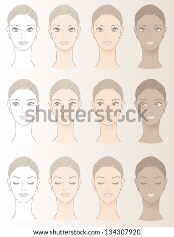 Chart Beautiful Woman Complexion Without Skin Stock Vector Royalty