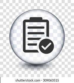 Chart with Checkmark on Transparent Round Button