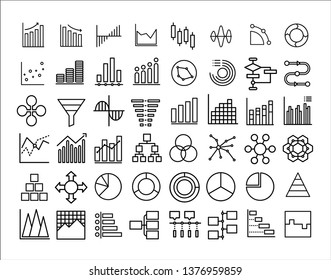 Chart diagram icon set. Simple illustration of 48 chart diagram vector icon for any web design - Vector