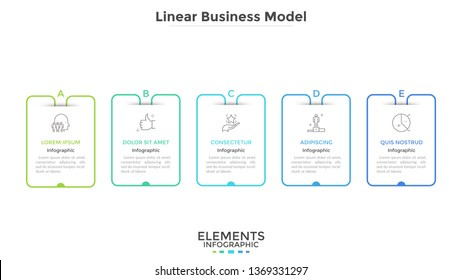 Chart with five rectangular elements placed in horizontal row. Business model with 5 steps of startup project development. Linear infographic design template. Vector illustration for progress bar.
