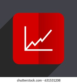 Chart flat design white and red vector web icon on gray background with shadow in eps10.