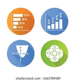 Chart and graph flat design long shadow glyph icons set. Horizontal and vertical histogram with interest rates. Function curve. Venn diagram. Trigonometry. Business. Vector silhouette illustration