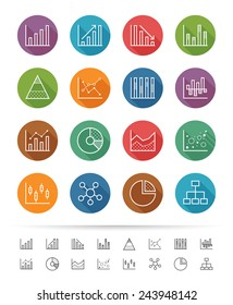 Chart and Graph icon set, thin line style - Vector illustration