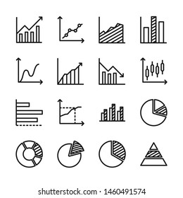 Chart and graph line icons set vector illustration