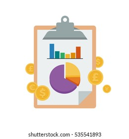Chart and graph on a clip board to symbolize a financial report statement flat style vector illustration
