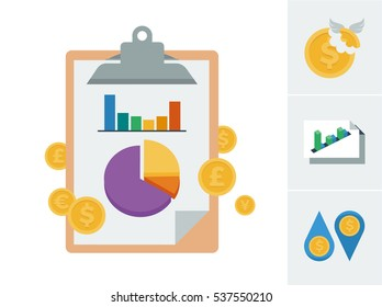 Chart and graph on a clip board illustration to symbolize a financial report statement and accompanying flat style vector icons symbolizing tax, profit and loss, and cash flow