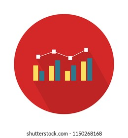 chart growing bar icon - financial growth line with bar. information - infographic symbol sign