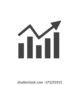 Chart icon, arrow go up, bar graph. Flat style icon. Vector illustration