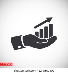 chart icon with hand,. icon. Vector Eps 10