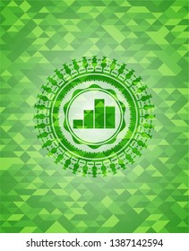 chart icon inside green emblem with mosaic ecological style background