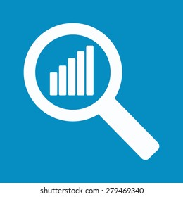 chart into a magnifying glass on a blue background. Stock vector