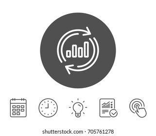 Chart line icon. Update Report graph or Sales growth sign. Analysis and Statistics data symbol. Report, Clock and Calendar line signs. Light bulb and Click icons. Editable stroke. Vector