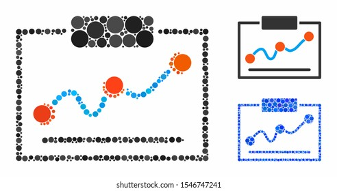 Chart mosaic of filled circles in different sizes and color tints, based on chart icon. Vector filled circles are grouped into blue illustration. Dotted chart icon in usual and blue versions.