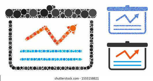 Chart mosaic of small circles in various sizes and color tints, based on chart icon. Vector small circles are united into blue mosaic. Dotted chart icon in usual and blue versions.