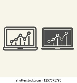 Chart on laptop line and glyph icon. Graph on monitor vector illustration isolated on white. Notebook with chart outline style design, designed for web and app. Eps 10
