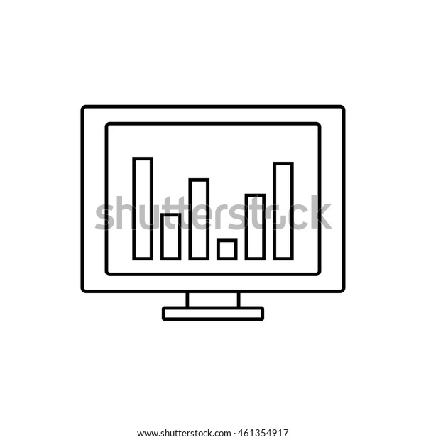 Chart on monitor icon illustration isolated vector sign symbol