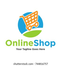 Chart online shop logo e commerce contept symbol for marketplace logo