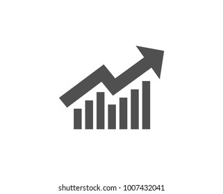 Chart simple icon. Report graph or Sales growth sign. Analysis and Statistics data symbol. Quality design elements. Classic style. Vector
