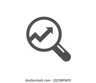 Chart simple icon. Report graph or Sales growth sign in Magnifying glass. Analysis and Statistics data symbol. Quality design elements. Classic style. Vector