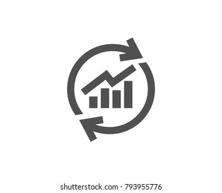 Chart simple icon. Update Report graph or Sales growth sign. Analysis and Statistics data symbol. Quality design elements. Classic style. Vector
