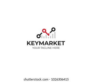 Chart stats and key logo template. Market success vector design. Growth graph illustration