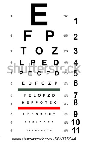 Chart Test Table Letters Eye Examination Stock Vector Royalty Free