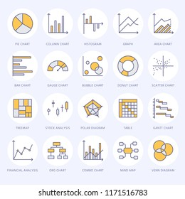 Chart types flat line icons. Linear graph, column, pie donut diagram, financial report illustrations, infographic. Thin signs for business statistic, data analysis.