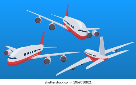 Charter airplane in various point of view. Passenger plane in a flat 3d style. Private plane charter with a red stripe. Isolated aircraft for air charter service. Vector illustration
