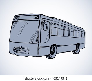 Charter charabanc isolated on white backdrop. Freehand outline ink hand drawn picture sketchy in art scribble retro style pen on paper. Side view with space for text on road