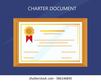 Charter document with frame, the document award nomination