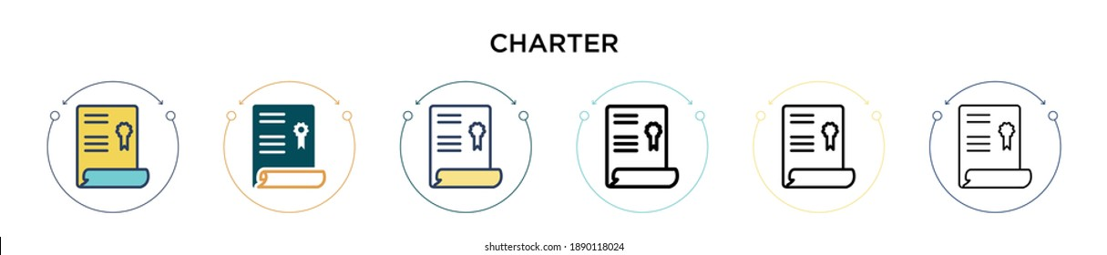 Charter icon in filled, thin line, outline and stroke style. Vector illustration of two colored and black charter vector icons designs can be used for mobile, ui, web