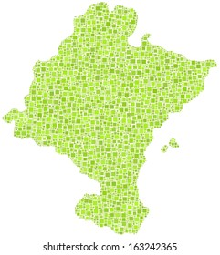 Chartered Community of Navarre - Spain - in a mosaic of green squares. A number of 4377 little squares are accurately inserted into the mosaic.. White background.