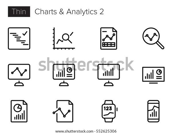 Charts and Analytics Line Vector icons set 2